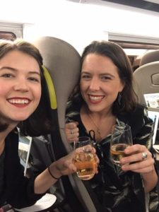 sra team members ellie and hannah on eurostar plastic-free train